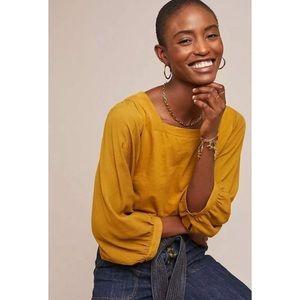 NWT Akemi Kin Anthropologie Decker Top Gold Medium